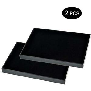 Black Velvet Stackable Jewelry Tray Showcase Display jewelry 2pcs