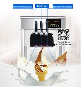 Commercial Soft Serve Ice Cream Maker 3 Heads