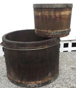 Set Of 2 Vtg Wooden Staved Dry Measures Buckets Metal Bands Country Farm Rustic