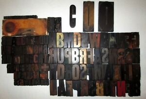 Vtg Printers Letterpress Print Wood Block Stamp Lot Of 131 Letters Numbers