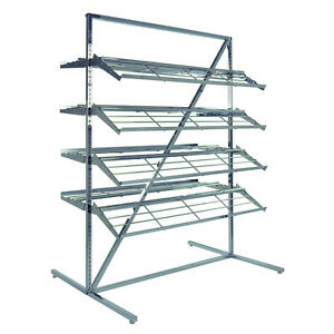 Double Side Shoe Display Rack With 8 Shelves Chrome