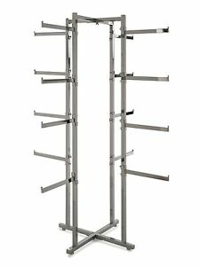 4 Way Folding Lingerie Display Rack Tower W Rectanular 12 Long Arms Chrome