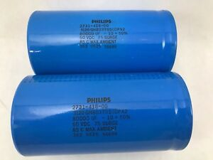 Lot Of 2 Electrolytic Capacitors 80000uf 50vdc 85c Ambient 2731 418 00