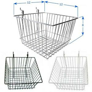 Case Of 6 Slatwall Baskets 12 l X 12 d X 8 h Black White Or Chrome