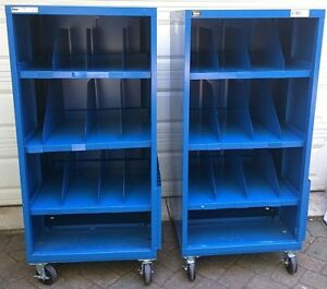 Two 2x Stanley Vidmar Commercial Shelf Open Tool Shop Equipment Cabinet Casters