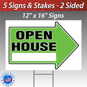 5x 12x16 Open House Directional Signs Corrugated Free Stakes 5 Pack Green