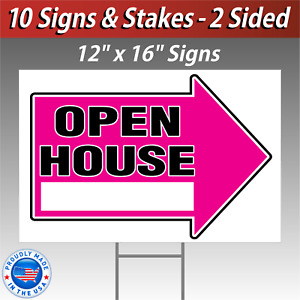 10x 12x16 Open House Directional Signs Corrugated Free Stakes 10 Pack Pink