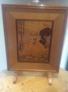 Vintage 1940s Art Deco Inlaid Wooden Marquetry Wood Fire Screen Crinoline Lady