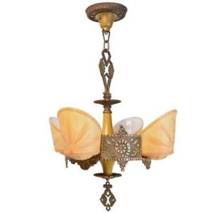 Beardslee Polychrome Art Deco Slip Shade Chandelier