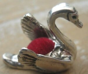 Traditional Edwardian Style Solid Sterling Silver Swan Pin Cushion Red Velvet
