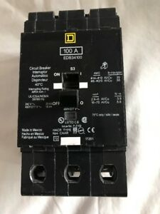 Square D Edb34100 100a Amp Circuit Breaker Used But Works