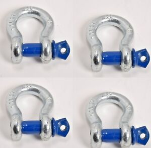 Lot Of 4 1 2 D Ring Nickel Plated Bow Shackle Blue Clevis Pin Atv 4400 Lbs 2t