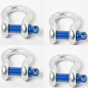 4 3 4 D Ring Bow Shackle 4 75ton W Blue Pin Recovery Tow Jeep Off Road 4x4 Cj