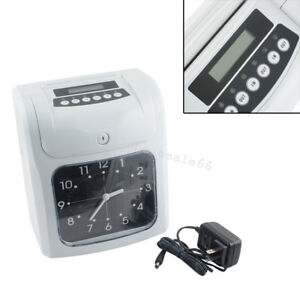 Lcd Analogue Electronic Time Recorder Clock Employee Office Equipment