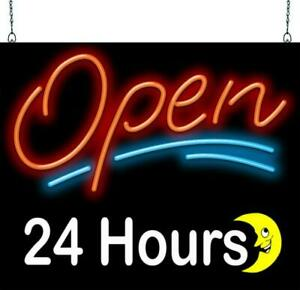 Open 24 Hours With Moon Neon Sign Jantec 2 Sizes Business All Night