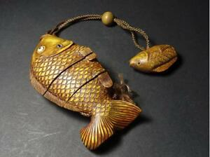 Antique Japanese Fish Type Inro With Ojime And Fish Netsuke Wooden W Box