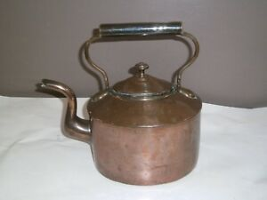 Large Antique Copper Kettle Stamped 7 B To Lid