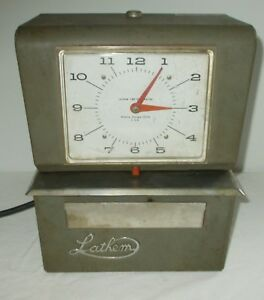Vintage Lathem Time Clock Time Card Industrial Shop Atlanta Georgia