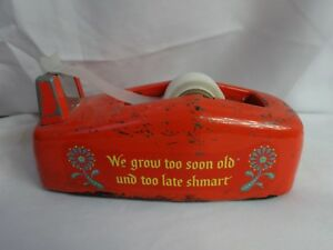 Vtg 60s Tape Dispenser Metal Orange Industrial Dutch Scandinavian Mid Century