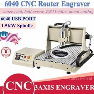 Usb 1 5kw Vfd Cnc 6040 Router Engraver Metal Wood Milling Drill Machine 3 Axis