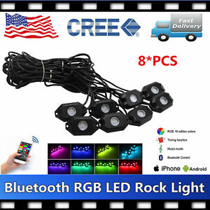 8pcs Led Rock Light Tail Lights Wireless Bluetooth Rgb Color Under Car Jeep Rzr