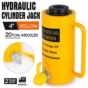 20 Tons 4 Hollow Hydraulic Cylinder Jack 44000lbs 100mm Stroke Ram Lift Cylinder