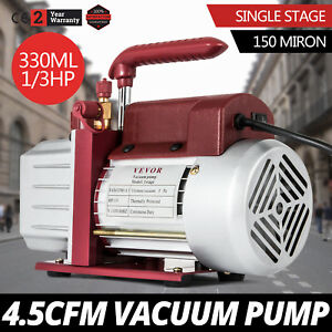 4 5cfm Single stage Rotary Vacuum Pump Wine Degassing 150 Miron 1 4 flare Inlet