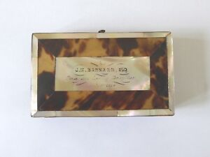 Victorian Card Case M Of P Tortoseshell With Inscription For 1874 01