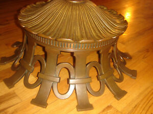 Antique Attributed Tiffany Studios Bronze Lamp Base 0r Ceiling Canopy 30lb W21