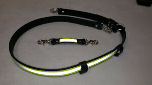 Sav a jake Firefighter Leather 3m Triple Yellow Reflective Radio Strap Set Xl