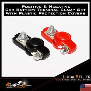 2x Battery Cable Terminal Connector Clamp Clip Auto Top Post Negative Positive