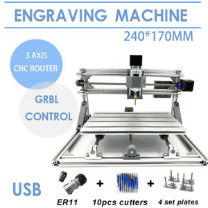 Diy 2417 Cnc Mill Usb Desktop Metal Engraver Router Pcb Milling Machine Mini Us