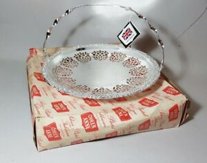 Vintage Silver Plated Queen Anne Bread Swing Basket Cake Stand Boxed Tags Unused