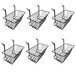 6pc 12 x 6 x 6 Narrow Deep Basket Display Black Metal Wire Slatwall Gridwall