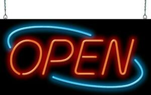Large Art Deco Style Open Neon Sign Jantec 2 Sizes Business Hand Bent