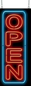 Large Vertical Open With Border Neon Sign Jantec 15 Wide X 37 High Real