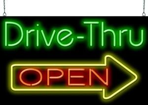 Drive Thru Open With Right Arrow Neon Sign Jantec 37 Wide X 22 High Real