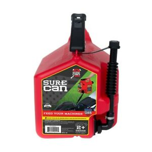 Surecan 2 Gallon Red Plastic Gasoline Fuel Can Container Total Flow Control New