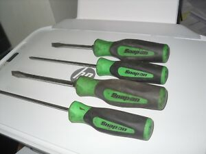 Snap On 4 Pc Soft Grip Handle Green Screwdriver Set Flat Slotted Philips Usa