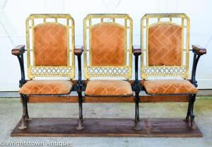 Authentic 1920s Art Deco Stage Theater 3 Chair Section Stunning