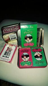 VINTAGE COCA COLA ADVERTISING ,3 ITEMS CHRISTMAS PLAYING CARDS ,ORIGINAL PACKAGE