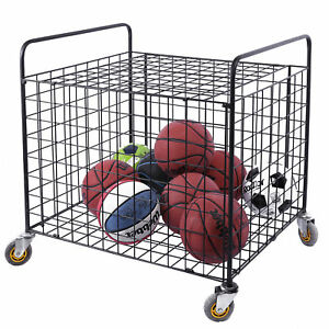 Metal Rolling Sports Ball Storage Hopper Equipment Cart