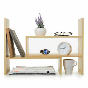 Adjustable Natural Wood Desktop Storage Organizer Display Shelf Rack Beige