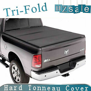 Lock Tri fold Solid Tonneau Cover For 2003 2018 Dodge Ram 2500 3500 8ft Long Bed