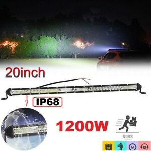Slim 20inch 1200w Led Work Light Bar Single Row Driving Lamp Ute Atv Suv Jeep