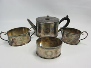 Antique Silverplate Tea Set Waste Bowl Creamer Sugar Wreath Coffee Art Deco