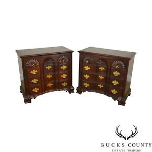 Link Taylor Heirloom Solid Mahogany Pair Chippendale Style Block Front Chests
