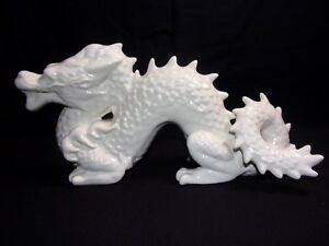 Vintage White Porcelain Chinese Dragon Statue Awesome Unique Rare10 1 2 L 5 1 2t