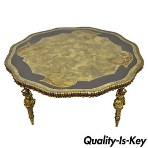 Vintage Gold Hollywood Regency French Style Female Figural Metal Coffee Table