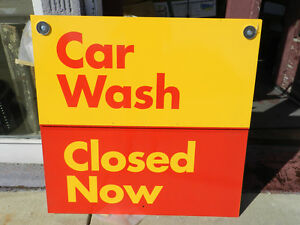Nice Metal Car Wash Open Closed Sign 3ftx3ft 3 x3 Yellow Red